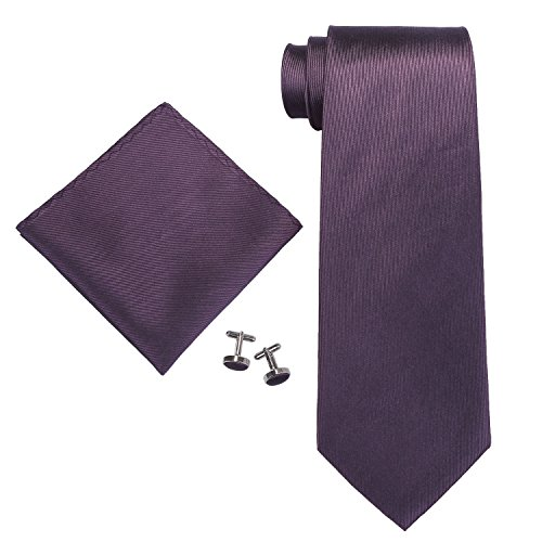 Landisun Solids Mens Silk Tie Set: Tie+Hanky+Cufflinks 63H Dark Purple, 3.75