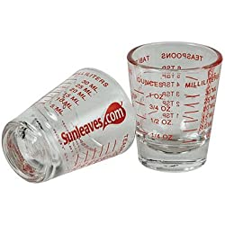 1 X Mini Measure ® Mini Measuring Shot Glass Measures 1oz, 6 Tsp, 2 Tbs, 30ml