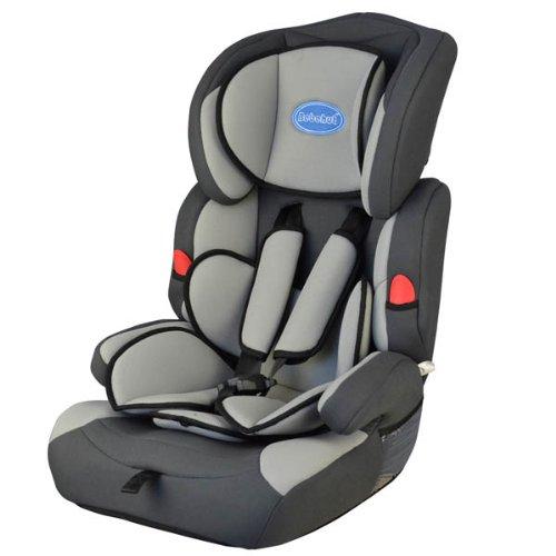 BEBEHUT Seggiolino porta-bimbo per auto normative I / II / III classi di peso 9- 36 kg colore: grigio/nero BAB001G