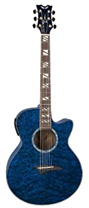 Dean Performer Acoustic Electric Guitar Quilt Ash Transparent Blue