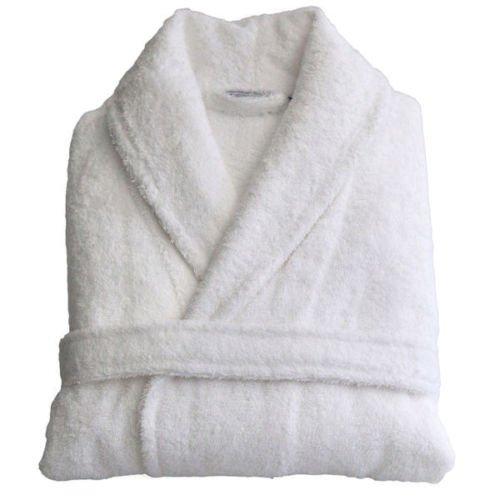 Herren Damen Unisex Ägyptische Baumwolle Frottee Bademantel Bademantel, Weiß, S/M