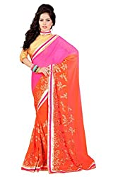 Bikaw Women's Chiffon Saree (RS_Maira_1421_Pink And Orange_Free Size)