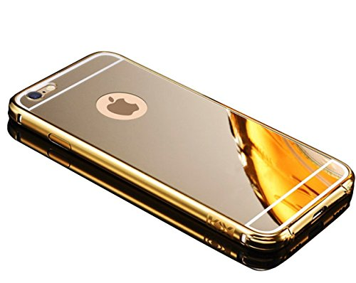 Apple iPhone 7 4.7 inches Case, Sunroyal(TM) [Slim Fit] Luxury Air Aluminum Hard Bumper Detachable + Mirror Clear Back Case 2 in 1 cover Ultra-thin Metal Frame Case - Gold (Clear 1 2 Bumpers compare prices)
