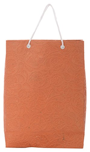 Utsav Kraft Paper 3 Ltrs Orange Reusable Shopping Bags (pack Of 10)