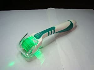 1.0mm Professional Green Light Photon 560nm LED Titanium Microneedle 540 Derma Needle Roller Treating Acne Scars, Skin, Hair Loss, Wrinkles, Blackheads, Lines, Sun Damaged, Ageing- Daily Care Product, Reducing Blemishes Scars Potholes Cellulite Stretchmarks Uplifting Whitening Regeneration. Home Use 1.0 mm