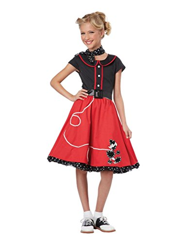 [Totally Ghoul Girls 50s Sock Hop Halloween Costume Poodle Skirt Dress Lg (10-12)] (Sock Hop 50s Costumes)