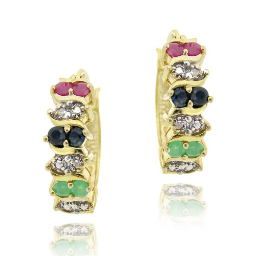 18K Gold over Sterling Silver Multi Color Gemstones & Diamond Accent Hoop Earrings