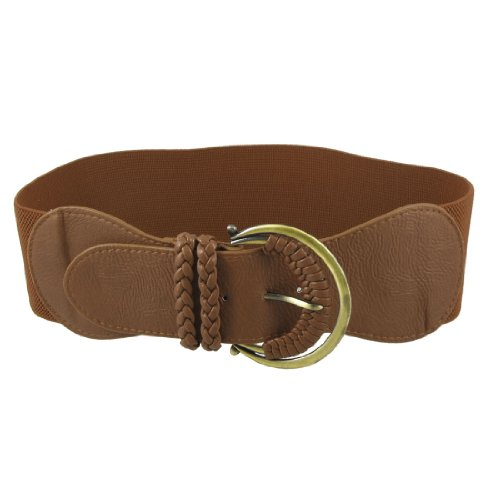 Brown Bronze Tone Metal Single Buckle Elastic Wide Cinch Waistbelt for Women