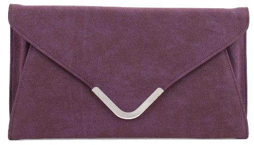 Nadia Envelope Suede Large Clutch Handbag Women's Classy Purse (Purple)