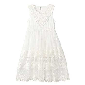 Horcute Princess Sleeveless Vintage Lace Long Flower Girl Dress