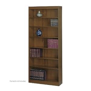 Safco 7-Shelf Square-Edge Veneer Bookcase, Walnut