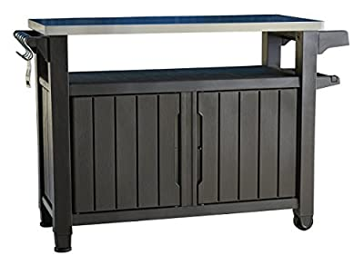 Keter Unity XL Indoor Outdoor Entertainment BBQ Storage Table / Prep Station / Serving Cart with Metal Top