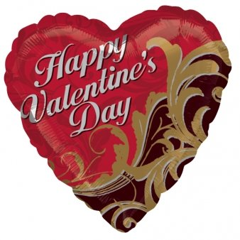 "18"" Valentine's Day Gold Damask Anagram Balloons - 1"