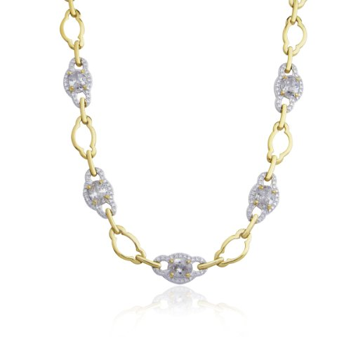 18k Yellow Gold Plated Sterling Silver Cubic Zirconia Link Necklace, 17