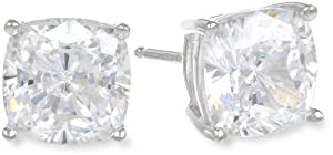 Platinum Plated Sterling Silver Cushion-Cut Cubic Zirconia Studs (5 cttw)