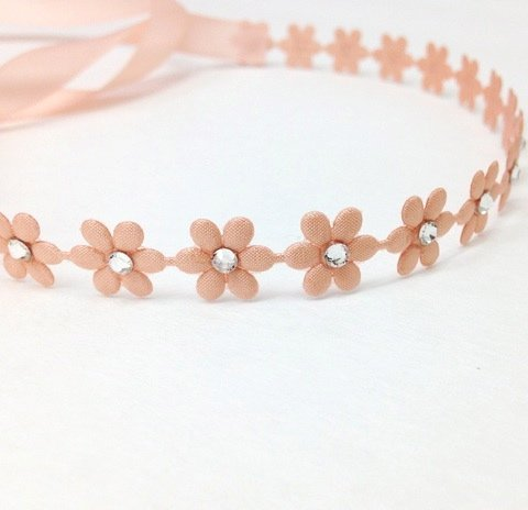 Flower Wrap Band For Girls With Swarovski Crystals (Color Peach) front-693193