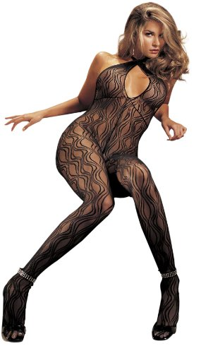 Swirl Lace Bodystocking (Black, One Size)