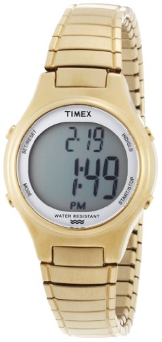 Timex Women's T2N3129J Classic Digital Gold Case Expansion Band Dress Watch