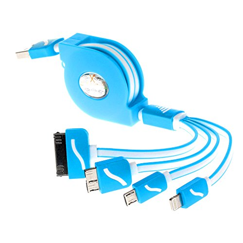 USB Cable, Retractable 4 in 1 Multifunctional Universal USB Charger Cable for iPhone 6s, 6s Plus, 5 / 5S / 5C / SE, 4S 4,iPad Mini 2, Galaxy S4, S5, S6 ,iPod,HTC(Blue)