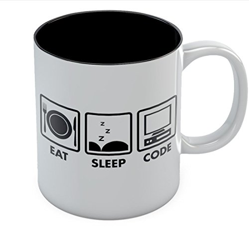 Eat Sleep Code Coffee Mug - Geek Gift Idea - Funny Programmer Coder Tea Cup Mug 11 Oz. Black
