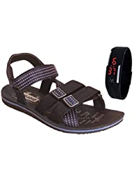 Delux Look Originals Men's Yellow Synthetic Leather SANDAL WITH BEND WATCH FREE