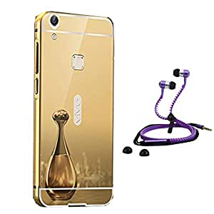 Droit Luxury Metal Bumper + Acrylic Mirror Back Cover Case For + Vivo Y 28 Stylish Zipper Handfree and Good QualitySound by Droit Store.