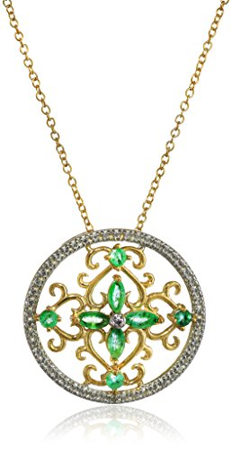 """Yellow Gold-Plated Sterling Silver Emerald Pendant Necklace,18"""""""