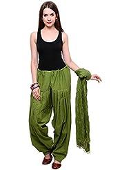 Kisti Sales Women Cotton Solid Green Patiala Salwar Dupatta Set Free Size