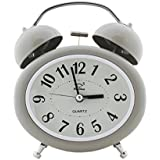 Quartz Twin Bell Alarm Clock With Light (1h136) - Grey - Analog Room Decor (Size 12.5x6x15 Cm) (Grey)