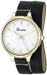 Geneva Womens 1669F-GEN Analog Display Quartz Black Watch