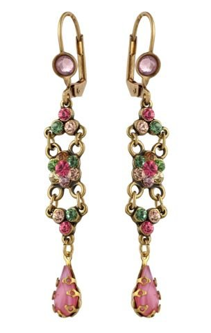 Michal Negrin Dangle Earrings with Flower Centerpiece, Tear Drop Crystals, Pink and Green Swarovski Crystals - Hypoallergenic, Hand-Made in Israel