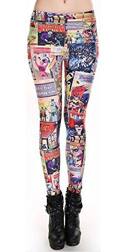 Tratto attivo a maglia metà stampa Batman: Fumetti Polizieschi / dorata età Leggings per le donne ragazze Capri pantaloni (uno di dimensioni, blu/nero/arancio)