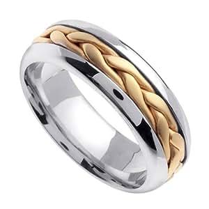 Amazoncom two tone braided wedding ring for women 65mm for Two tone wedding rings for women