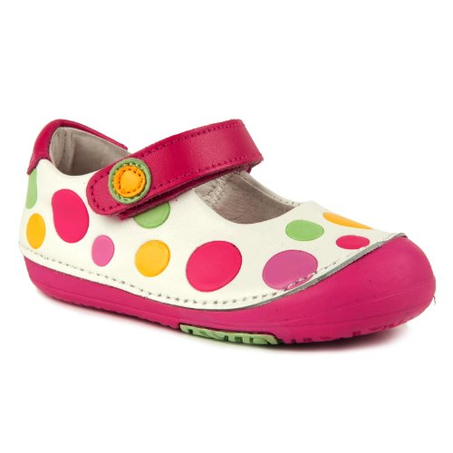 Momo Baby First Walker/Toddler Rainbow Dots White Mary Jane Leather Shoes - 4 M Us Toddler front-1018511