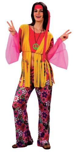 Hippy Hippie Woman. An excellent value costume that includes a hot pink crop top with long mesh bell sleeves, yellow waistcoat (attached to crop top), multicoloured, flower power trousers and headband. Wig is not included