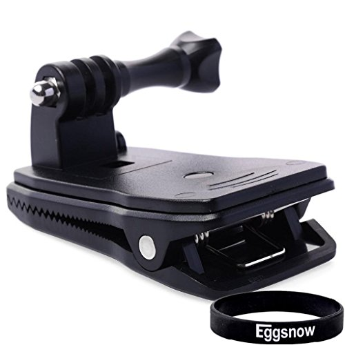 Eggsnow Bag Backpack Strap Quick Release Clip Clamp Mount 360 Degree Rotation for Gopro Hero 4 3+ 3 2 1 - Black