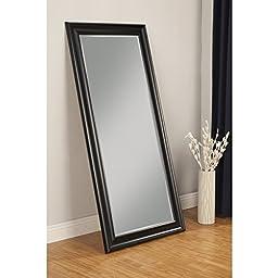 Beveled glass and 4 inch Frame Black Finish Full Length Leaner Mirror