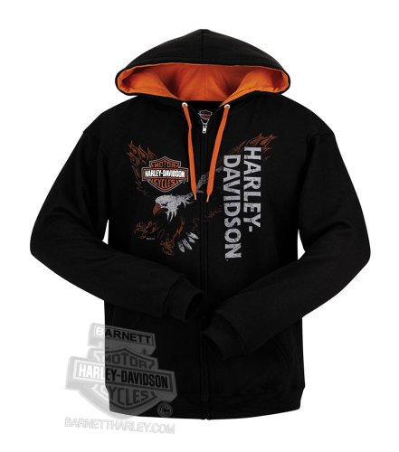Harley-Davidson Mens Eagle Across Full Zip Black Long Sleeve Hoodie