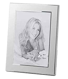 Brushed and Polished Metal Engravable Photo 5x7 Silver Picture Frame Wholesale