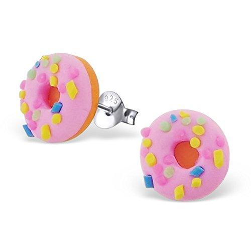 pink-doughnut-sterling-silver-earring-studs-for-children-by-kate-benson