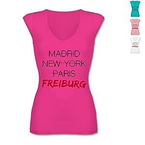 BL8705 Frauen Damen Shirt mit tiefem V-Ausschnitt, sehr leichtes Material, figurbetont - Städte - Weltstadt Freiburg