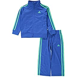 adidas Baby Boys\' Iconic Tricot Jacket and Pant Set, Bold Blue, 24 Months