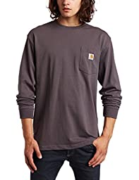 Carhartt Men\'s Workwear Pocket Long Sleeve T-Shirt Midweight Jersey Original Fit K126,Charcoal,Large