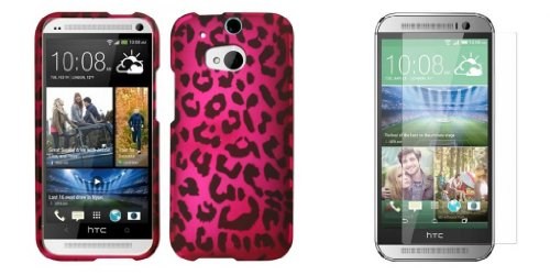 Htc One M8 - Hot Pink And Black Leopard Design Case + Atom Led Keychain Light + Screen Protector