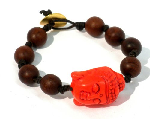 Knotted Bracelet on 11mm Roble Wood and Large Orange Stone Buddha with Gold Plated Lock Handmade