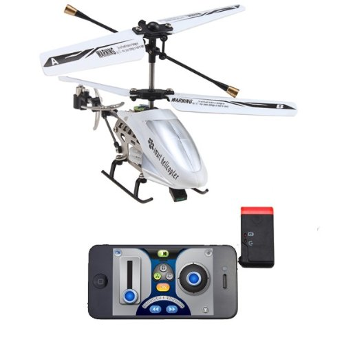 (Silver & White) Mini Rechargeable 3 Channel RC i-Helicopter with Gyro - Controlled by iPhone/iPod Touch/iPad
