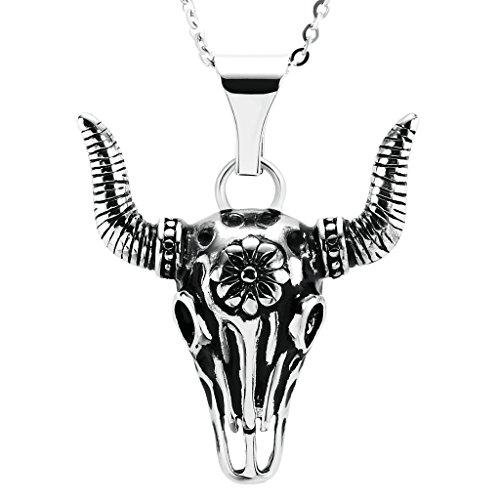 Bishilin Acciaio Inossidabile Argento Nero Bull Teschio Head Skeleton Punk Gothic Pendenti Collanine Amicizia per Uomo Dimensioni 4.4x4.9CM