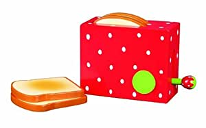Childrens Wooden Red Strawberry Toaster & Toast / Bread (Food Toy)
