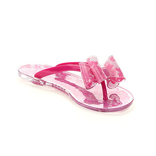 Jelly Beans Lychi Kid'S Big Girl Flower Deco Flip Flops Thong Sandals Shoes, Color:Fuchsia, Size:10
