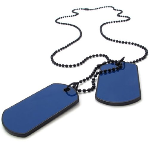 KONOV Jewelry Army Style 2pcs Dog Tag Pendant Men's Necklace Chain, Blue